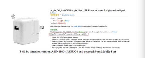 """苹果亲自打假!亚马逊上买百件""""苹果产品"""" 90%是假货"""