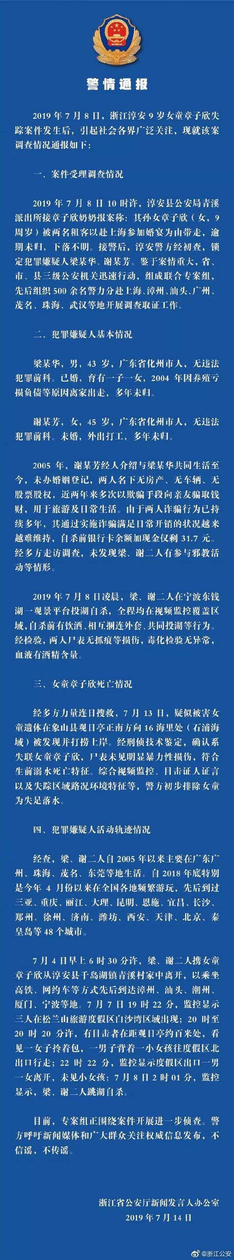 警方公布9岁女孩章子欣死因!全网关注的六大疑问有答案了,更多细节曝光