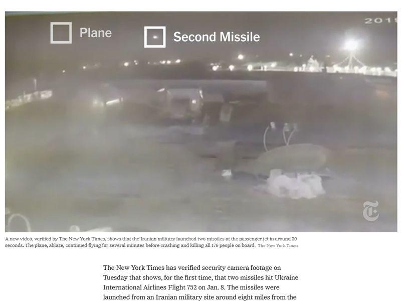 「紐約時報」先前報導伊朗飛彈擊中烏克蘭班機,隨後伊朗也承認誤擊客機。紐時14日報導,新的監視影像顯示,飛機從德黑蘭機場起飛幾分鐘後遭一枚飛彈擊中,約23秒後又遭另一枚飛彈攻擊。(圖取自紐約時報網頁nytimes.com)