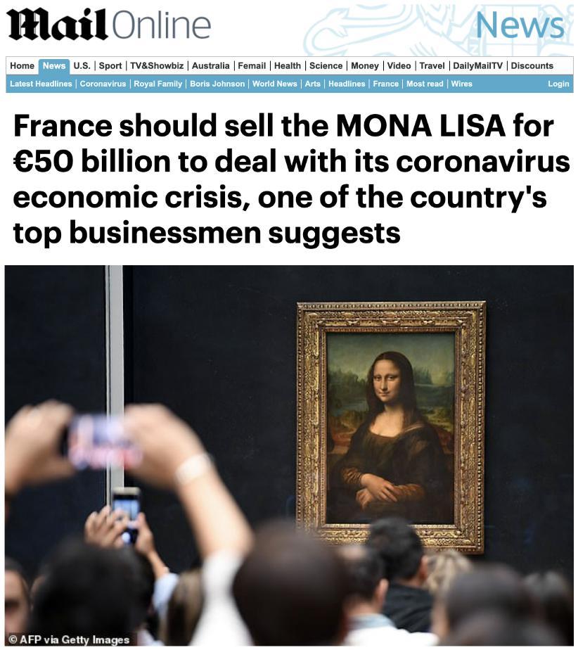 《蒙娜麗莎》能賣多少錢?疫情給出答案了