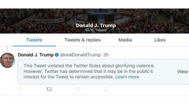 """继续怼!推特又将川普一条推文标记为""""美化暴力"""""""