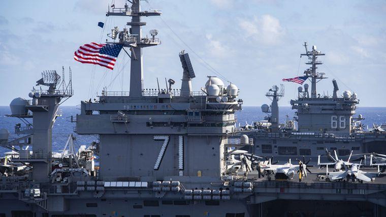 罕見!美軍三大航母並駕齊驅 聯演畫麵公布 劍指中國