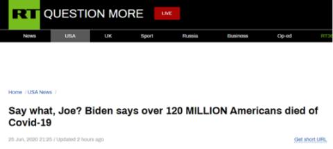 """拜登又出""""严重口误"""":美国因新冠死了1.2亿"""
