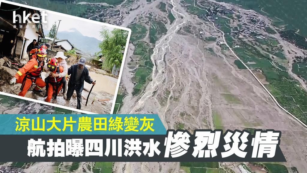 航拍曝四川洪水惨烈灾情:大片农田绿变灰
