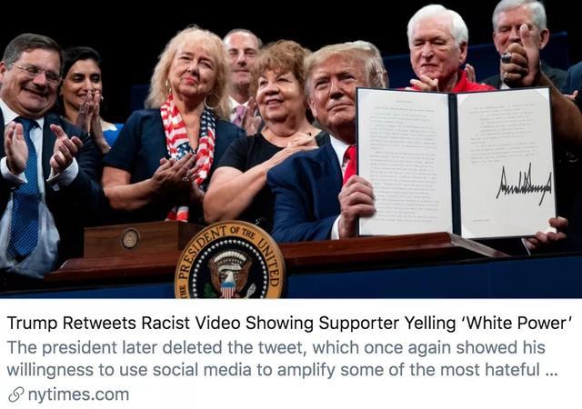 """特朗普转发一条""""种族主义呐喊""""视频,随后默默删掉…"""