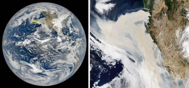 美西野火浓烟太空都可见 烟雾正往太平洋扩散…