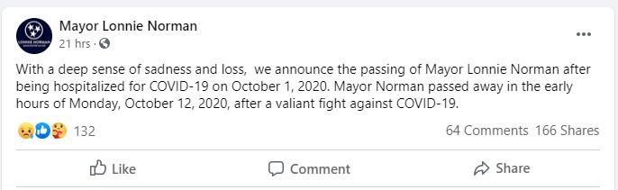 美国一市长感染新冠死亡 在社交网络上引发激烈争吵