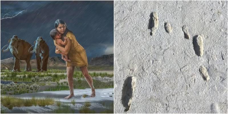 1万年前母子足迹曝光!小妈妈躲避猛兽 抱起幼儿赶路
