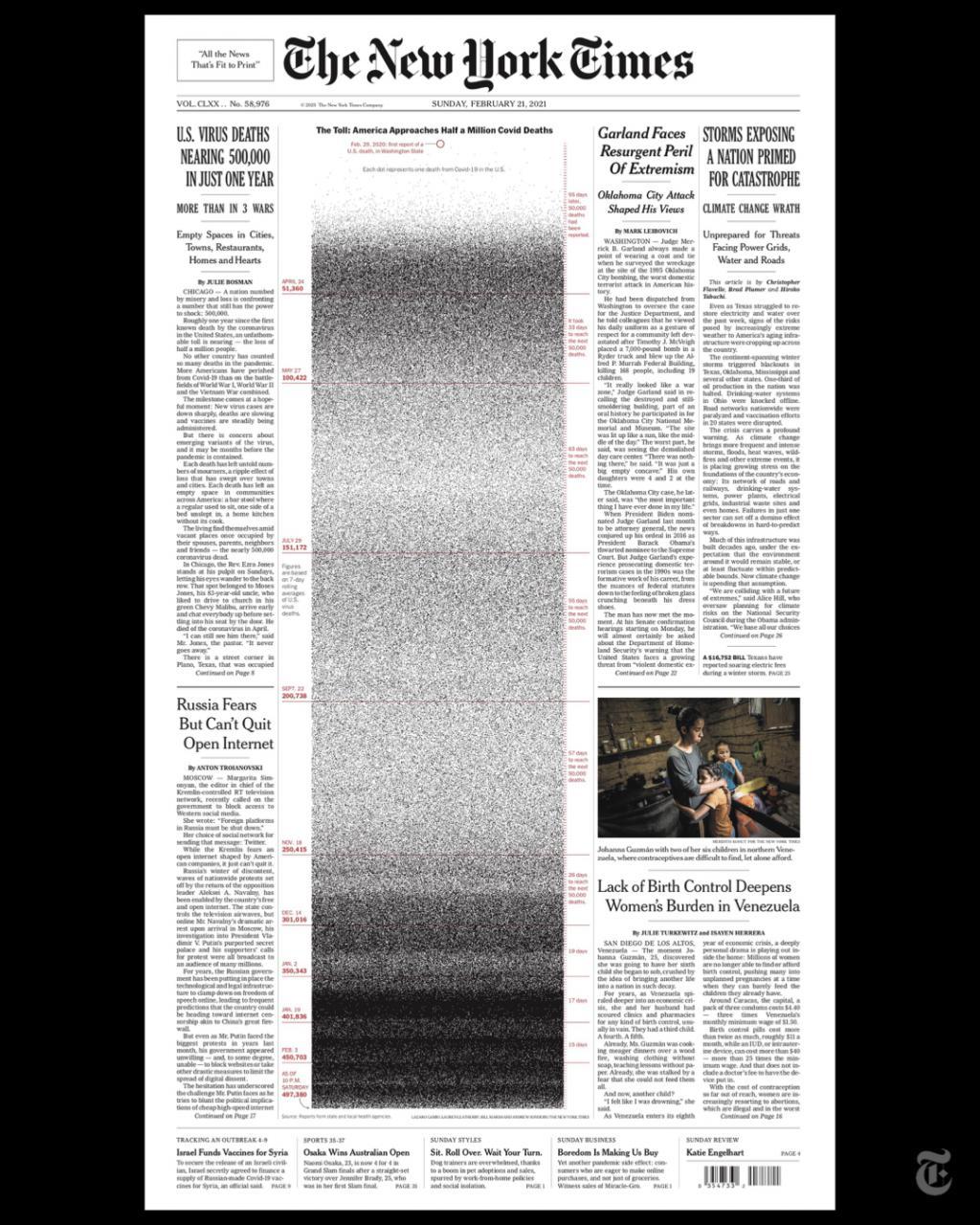 """密密麻麻!《紐約時報》頭版刊登近50萬個""""點"""""""