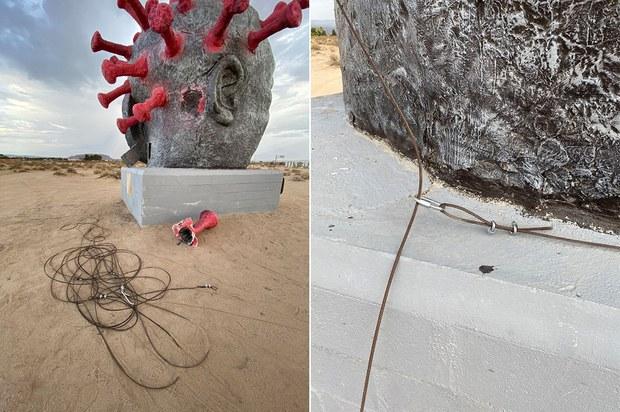 """南加州""""中共病毒""""雕像遭破坏成这样 警方介入"""