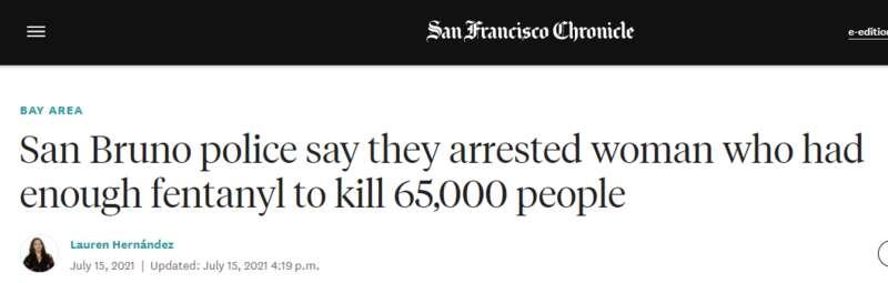 加州女毒枭落网 持有大量芬太尼 足以杀死7万人