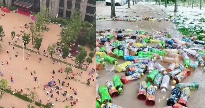 郑州暴雨 康师傅仓库坍塌 30万瓶饮料冲上街!民众疯抢