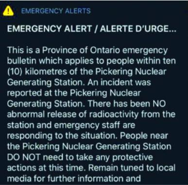 核泄漏?收到核電站事故警報 多倫多人極度驚恐(圖)