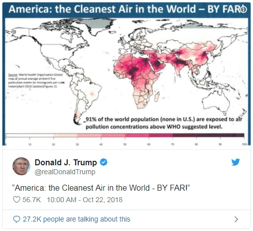 特朗普又批中国:中国的脏空气都飘到美国了