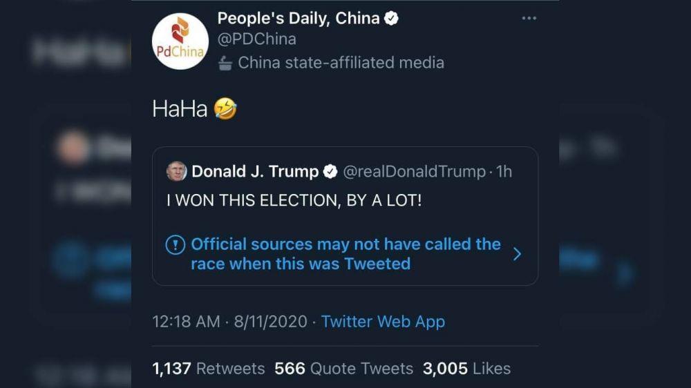 特朗普Twitter声称胜选 人民日报:HaHa