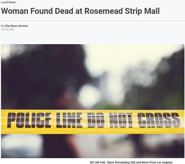 洛杉矶一华人商圈 大白天发现一具亚裔无名女尸…