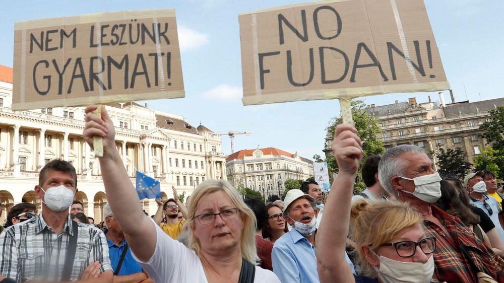 抗议中国复旦大学设分校 匈牙利首都出现示威